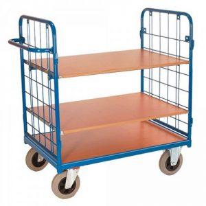 Etagenwagen / Paketwagen - 3 Böden, 2 Drahtgitterwände, Tragkraft 500 kg, LxBxH 1390 x 815 x 1210 mm