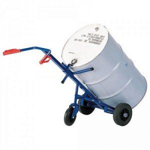 Fasskarre, Tragkraft 250 kg, Stützrad Ø 200 mm, für 200-Liter Sicken- und Rollreifen-Stahlfässer