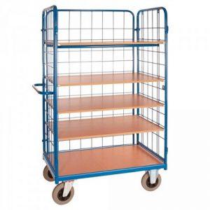 Etagenwagen / Paketwagen: 5 Böden, 3 Drahtgitter-Seitenwände