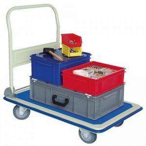 Schiebebügelwagen, klappbar, hellgraue Gummiräder, Tragkraft 150 kg