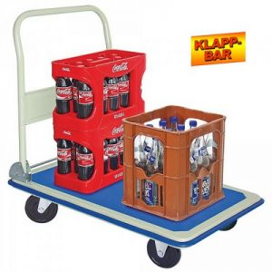 Schiebebügelwagen, klappbar, hellgraue Gummiräder, Tragkraft 300 kg