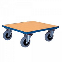 Möbel- und Tranportroller, 400 kg Tragkraft, Ladefläche LxBxH 500 x 500 x 170 mm aus Holz