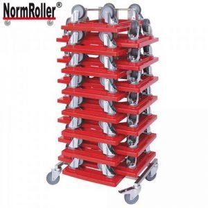 15 Logistikroller mit 4 Lenkrollen und grauen Gummirädern, Tragkraft 250 kg + Rollerständer aus Edelstahl