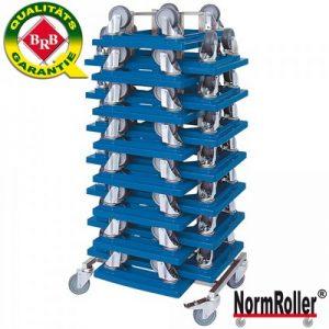 15 Logistikroller (Farbe: blau) mit 4 Lenkrollen und grauen Gummirädern, Tragkraft 250 kg + Rollerständer aus Edelstahl