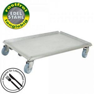 Logistik-Roller aus Edelstahl, geschlossenes Deck, für Eurobehälter 800x600 / 600x400 mm, 4 Lenkrollen aus Edelstahl, graue spurlose Gummiräder