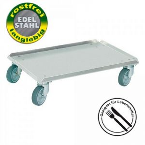 Roller mit geschlossener Deckfläche Edelstahl / rostfrei, für Euro-Stapelbehälter 600 x 400 mm, Lenkrollen Edelstahl