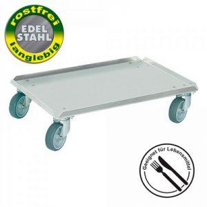Logistik-Roller aus Edelstahl, geschlossenes Deck, für Eurobehälter 600 x 400 mm, 4 Lenkrollen aus Edelstahl, graue spurlose Gummiräder