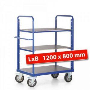 Etagenwagen für schwere Lasten, Tragkraft 1200 kg, 2 Böden / 3 Ladeflächen - LxBxH 1390 x 800 x 1500 mm
