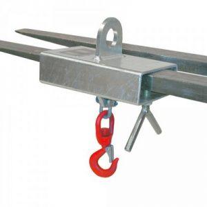 Lastkakenaufsatz für Stapler und Kran, Einfahrtaschen-Innenmaß BxH 160 x 60 mm, Wirbellasthaken, Tragkraft 1.000 kg