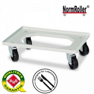 Logistik-Roller für Eurobehälter 600 x 400 mm, Tragkraft 250 kg, 4 Lenkrollen, schwarze Kunststoffräder, Farbe: natur / weiß
