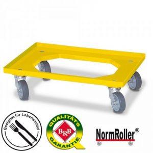 Logistik-Roller, offenes Deck, Tragkraft 250 kg, 4 Lenkrollen, graue Gummiräder, Farbe: gelb