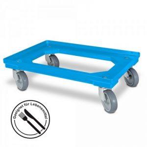 Schwerlast Logistik-Roller für Eurobehälter 600 x 400 mm, Tragkraft 300 kg, 4 Lenkrollen, Gummiräder
