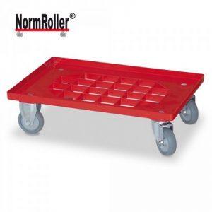 Logistik-Roller für Eurobehälter, Gitterdeck, Tragkraft 250 kg, 2 Lenkrollen, 2 Bockrollen, graue Gummiräder, Farbe: rot