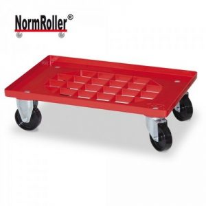 Logistik-Roller für Eurobehälter, Gitterdeck, Tragkraft 250 kg, 2 Lenkrollen, 2 Bockrollen, schwarze Kunststoffräder, Farbe: rot