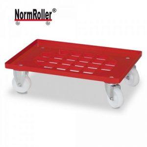 Logistik-Roller für Eurobehälter, Gitterdeck, Tragkraft 250 kg, 2 Lenkrollen, 2 Bockrollen, weiße Kunststoffräder, Farbe: rot