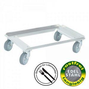 Logistik-Roller aus Edelstahl für Eurobehälter 600 x 400 mm, 4 Lenkrollen aus Edelstahl, graue spurlose Gummiräder