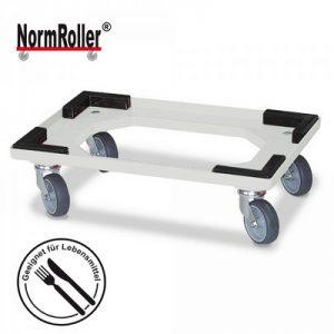 Logistik-Roller für Drehstapelbehälter, 4 Lenkrollen, graue Gummiräder - Farbe: natur / weiß