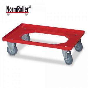 Logistik-Roller für Eurobehälter 600 x 400 mm, 2 Lenkrollen / 2 Bockrollen, Gummiräder grau, Farbe: rot