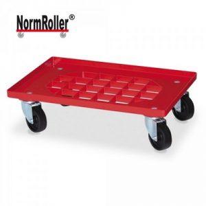Logistik-Roller für Eurobehälter, Gitterdeck, Tragkraft 250 kg, 4 Lenkrollen, schwarze Kunststoffräder, Farbe: rot