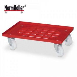 Logistik-Roller für Eurobehälter, Gitterdeck, Tragkraft 250 kg, weiße Kunststoffräder, Farbe: rot