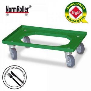 Logistik-Roller für Behälter 600x400 mm, 4 Lenkrollen, graue Gummiräder - Farbe: grün