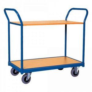 Magazinwagen, 2 Etagen / Ladeflächen aus Holzwerkstoffplatte, LxBxH 1180 x 600 x 910 mm, Tragkraft 200 kg