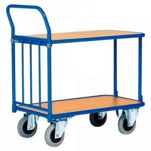 Magazinwagen, 2 Etagen / Ladeflächen aus Holzwerkstoffplatte, LxBxH 1320 x 700 x 990 mm, Tragkraft 400 kg