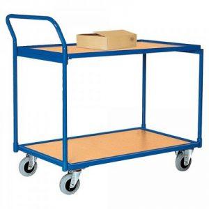 Magazinwagen, 2 Etagen / Ladeflächen aus Holzwerkstoffplatte, LxBxH 950 x 500 x 1050 mm, Tragkraft 250 kg