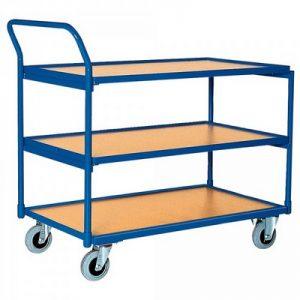 Magazinwagen, 3 Etagen / Ladeflächen aus Holzwerkstoffplatte, LxBxH 1110 x 600 x 1050 mm, Tragkraft 250 kg