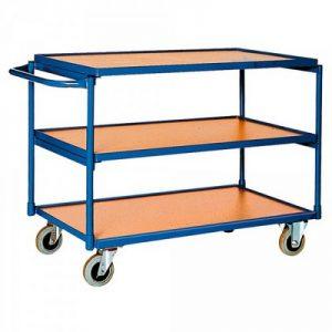 Magazinwagen, 3 Etagen / Ladeflächen aus Holzwerkstoffplatte, LxBxH 1150 x 600 x 820 mm, Tragkraft 250 kg