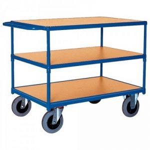 Magazinwagen, 3 Etagen / Ladeflächen aus Holzwerkstoffplatte, LxBxH 1190 x 700 x 915 mm, Tragkraft 500 kg