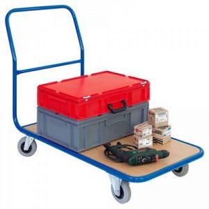 Magazinwagen, Tragkraft 200 kg, Stahlrohrrahmen, Ladefläche Holzwerkstoffplatte, LxBxH 1250 x 600 x 900 mm