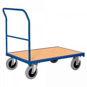 Magazinwagen mit Schiebebügel / Ladefläche Holzwerkstoffplatte, LxBxH 1320 x 800 x 990 mm, Tragkraft 500 kg