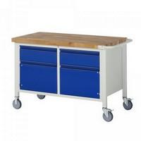 Montagewerkbank | fahrbar | 2 Schubladen, 2 Türen - BxTxH 1250 x 700 x 880 mm