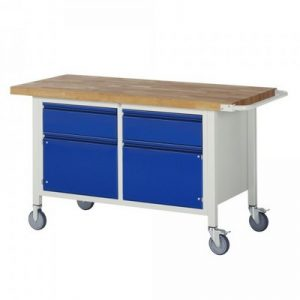 Montagewerkbank | fahrbar | 2 Schubladen, 2 Türen - BxTxH 1500 x 700 x 880 mm