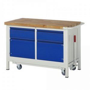 Montagewerkbank | fahrbar, absenkbar | 2 Schubladen, 2 Türen - BxTxH 1250 x 700 x 880 mm