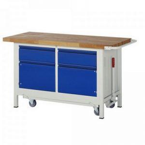 Montagewerkbank | fahrbar, absenkbar | 2 Schubladen, 2 Türen - BxTxH 1500 x 700 x 880 mm