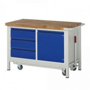 Montagewerkbank   fahrbar, absenkbar   3 Schubladen, 1 Tür - BxTxH 1250 x 700 x 880 mm