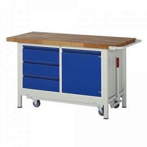 Montagewerkbank | fahrbar, absenkbar | 3 Schubladen, 1 Tür - BxTxH 1500 x 700 x 880 mm