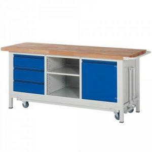 Montagewerkbank | fahrbar, absenkbar | 3 Schubladen, 1 Tür, 1 Fachboden - BxTxH 2000 x 700 x 880 mm