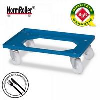 Roller für Eurobehälter, Tragkraft 250 kg, blau, 4 Lenkrollen, weiße Kunststoffräder