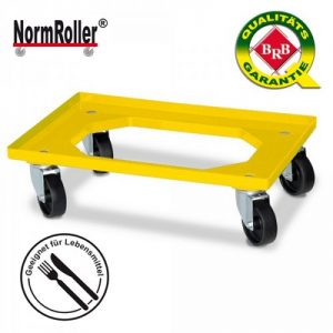 Roller für Eurobehälter, Tragkraft 250 kg, gelb, 4 Lenkrollen, schwarze Kunststoffräder