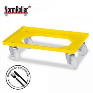 Roller für Eurobehälter, Tragkraft 250 kg, gelb, 4 Lenkrollen, weiße Kunststoffräder