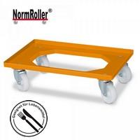Roller für Eurobehälter, Tragkraft 250 kg, orange, 4 Lenkrollen, weiße Kunststoffräder