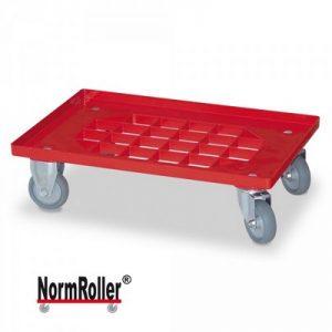 Roller für Eurobehälter, Tragkraft 250 kg, Gitterdeck aus ABS Kunststoff, rot, 2 Lenk- und 2 Bockrollen, graue Gummiräder