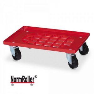 Roller für Eurobehälter, Tragkraft 250 kg, Gitterdeck aus ABS Kunststoff, rot, schwarze Kunststoffräder