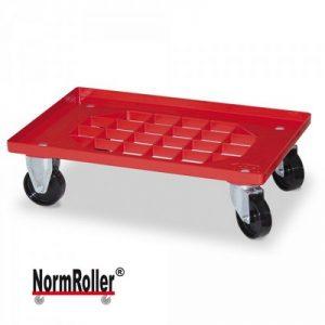 Roller für Eurobehälter, Tragkraft 250 kg, Gitterdeck aus ABS Kunststoff, rot, 2 Lenk- und 2 Bockrollen, schwarze Kunststoffräder