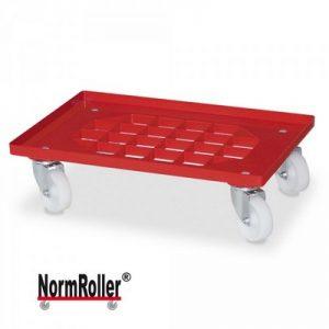Roller für Eurobehälter, Tragkraft 250 kg, Gitterdeck aus ABS Kunststoff, rot, weiße Kunststoffräder