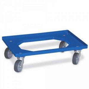Roller für Eurobehälter, Tragkraft 200 kg, blau, 4 Lenkrollen, Gummiräder