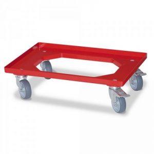 Roller für Eurobehälter, Tragkraft 250 kg, rot, 4 Lenkrollen, 2 Feststellbremsen, graue Gummiräder